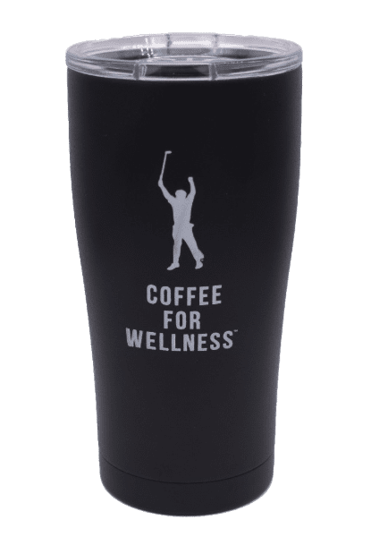black 20 ounce coffee for wellness tumbler