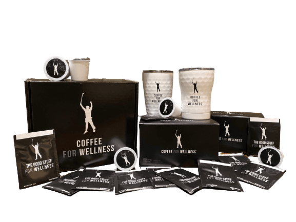 contents of deluxe phil mickelson coffee for wellness package with two white tumblers, packets of the good stuff supplement creamer, and capsules or k-cups of coffee