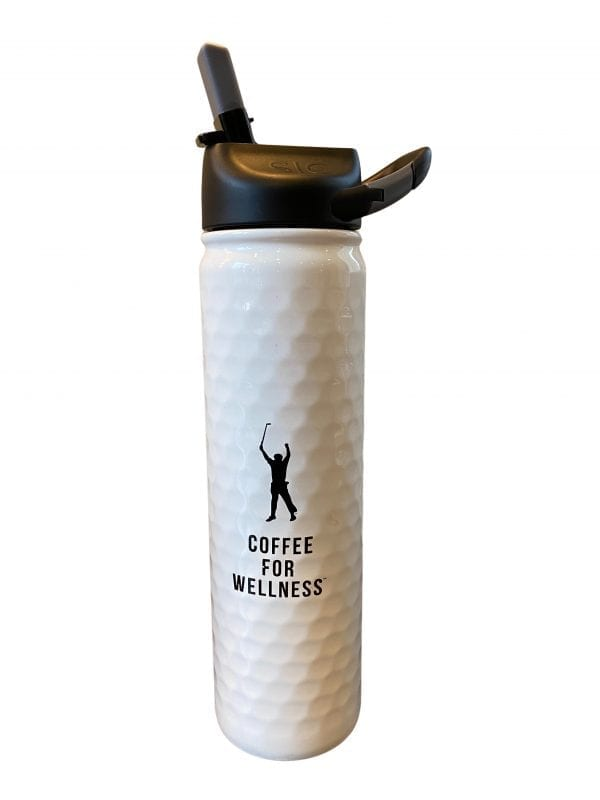 white coffee for wellness coffee tumblr with phil mickelson outline, golf ball texture